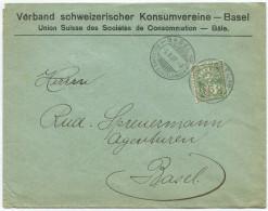 1524 - Perfin Beleg Vom Verband Schweizerischer Konsumvereine In Basel - 1882-1906 Armoiries, Helvetia Debout & UPU