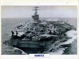 CARTE FICHE FORMAT A4 BATEAU / NAVIRE DE GUERRE LE NIMITZ - Boats
