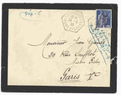 1939 - Enveloppe Affr. 90c Paix Oblit. Bureau Secondaire LOUESTAULT  Indre-et-Loire - Postmark Collection (Covers)