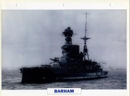 CARTE FICHE FORMAT A4 BATEAU / NAVIRE DE GUERRE LE BARHAM - Boats