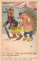 CPA ILLUSTRATEUR MICH LAPIN HERISSON ** ARTIST SIGNED BUNNY HEDGEHOG MICH DRESSED HUMANIZED - Mich