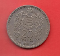 MONACO - 20 Francs  1947  KM124 - Mónaco