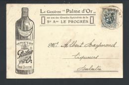 CPA - Carte Publicitaire - Publicité Genièvre Palme D'Or - FLEURUS - LE PROGRES - Vins Spiritueux Alcools  // - Fleurus