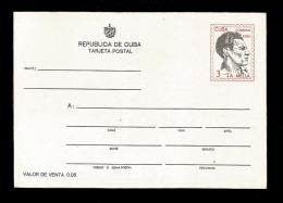 E)1986 CUBA, JULIO ANTONIO MELLA, JOURNALIST, REVOLUTIONARY, POSTAL STATIONERY - Kuba
