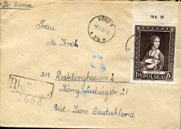 9420 Poland,  Cover Circuled Registered  With Stamp Painting Of  Leonardo Da Vinci, - Art