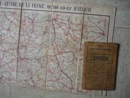 Ancien Guide Campbell No 10 AUVERGNE -avec Grande CARTE Couleur  ENTOILEE -publicités D´époque - Début 1900- - Topographical Maps