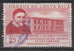 COSTA RICA 1960 Air. 300th Death Anniv Of St. Vincent De Paul - 25c St. Vincent De Paul & Two Storey Building FU - Costa Rica