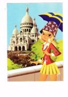 Cpsm - 75 - PARIS - Souvenir - Illustration Fillette Parapluie Ombrelle - SILHOUETTES DE PARIS - Sacré Coeur