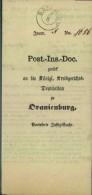 BASDORF, 1858 Post-Insinuations-Dokument Nach Oranienburg - Brandenburg - Prusse