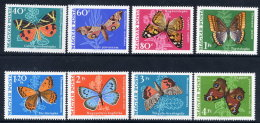 HUNGARY 1969 Butterflies Set MNH / **.  Michel 2494-501 - Butterflies