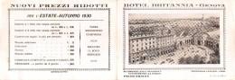 """D4388 """"HOTEL BRITANNIA - GENOVA - G. ORLANDINI""""  1930 - ANIMATO, AUTO, TRAMWAY - DEPLIANT PUBBLICITARIO ORIGINALE - Dépliants Turistici"""