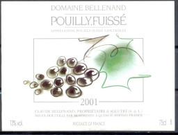 123 - Pouilly Fuissé - 2001 - Domaine Bellenand - Claude Bellenand Propriétaire à Sollutré - Embouteillé Mommessin - Bourgogne