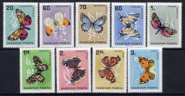 HUNGARY 1966 Butterflies Set MNH / **.  Michel 2201-09 - Hungary