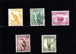 1937 - AUSTRALIA - O/FINE CANCELLED - FAUNA - Yv 110, 114, 115, 116, 118  Mi  C's - Usati