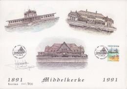 = Les 100 Ans Du Casino De Middelkerke 17.8.91 Encart Cartonné Vues Du Casino Belge Et Une Dédicace - Brieven En Documenten