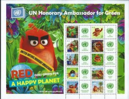 UN-New York. S72. Scott # 1131a-j, MNH Personalized Sheet Of 10+10 Diff. Labels. Angry Birds 2016 - Blocs-feuillets