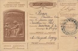 Carte D'identité - Ministère De L'Instruction Publique Et Des Beaux Arts - 1919 - Pupilles De La Nation - Cartes