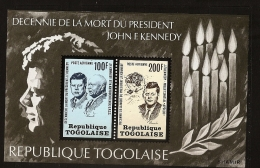 Togo 1970 N° BF 72 ** John Fitzgerald Kennedy, USA, Président, Khrouchtchev, Guerre Froide, URSS, Espace, Apollo, Bougie - Togo (1960-...)