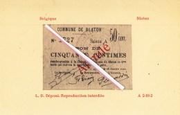 """Commune De BLATON - """"Bon De Cinquante Centimes"""" édité Et Signé Le 12 Octobre 1914 - Bernissart"""