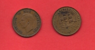SOUTH AFRICA, 1945,  Circulated Coin, 1/2 Penny, George VI, Km 24, C1400 - South Africa