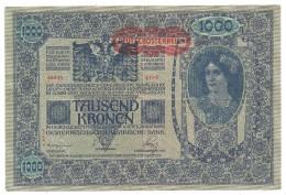 Austria 1000 Kronen 1919 II Auflage DO Aufdruck Uber Krone Hinausgehend - Austria