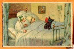 FAM-16 Couple D'enfants Au Lit Avec Chat Noir  Circulé Sous Enveloppe - Dessins D'enfants