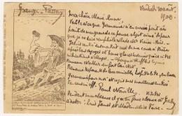 """2 Rares CPA Précurseurs 1900 R. Topffer """"Rencontre De Mr Vieux Bois"""".Edit: Comptoir Suisse De Photographie Genève. No 18 - GE Genève"""