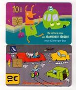 1 Lot De 2 Cartes Stationnement PARIS - Abonnement Et Pensez Aux Handicapés - 10€ - Francia