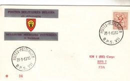 """Pli Officiel Inscriptions Et Oblitération Bilingues """" Postes Militaires Belges En Allemagne"""" 1963 - Postmark Collection"""