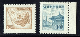 1954   Moth And Flag, Pagoda Park  Sc 202A, 203  MNH ** - Korea, South