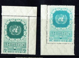 1955  United Nations 10th Ann.  Sc 221-2  MNH ** - Corée Du Sud