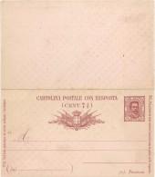 """Cartolina Postale TIPO BIGOLA C. 7 1/2 + 7 1/2 CON RISPOSTA - 1889 - NUOVA - CATALOGO FILAGRANO """"C14-89"""" - Entiers Postaux"""