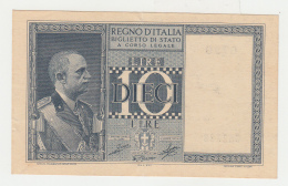 ITALY 10 Lire 1939 XF+ Pick 25c 25 C - [ 1] …-1946: Königreich