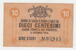 Italy 10 Centesimi 1918 UNC NEUF Pick M2 - [ 5] Schatzamt