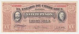 MEXICO 20 PESO 1915 (1914) UNC NEUF EL ESTADO DE CHIHUAHUA PAGARA - Mexico