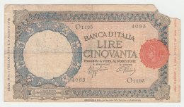 Italy 50 Lire 1944 AVF (missing Corner) RARE Pick 66 - 50 Lire