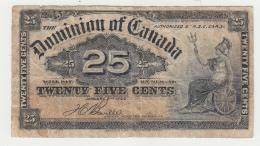 """Dominion Of Canada 25 Cents 1-2- 1900 """"F"""" Pick 9b 9 B - Canada"""