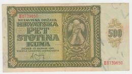 CROATIA 500 KUNA 1941 VF+ Pick 3 - Croatia