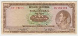Venezuela 100 Bolivares 1967 VF (staple Holes) Pick 48e  48 E - Venezuela