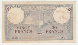 Morocco 20 Francs 14-11- 1941 VF+ Pick 18b 18 B - Maroc
