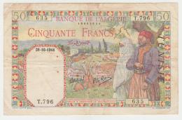 Tunisia 50 Francs 1941 VG++ Banknote Pick 12a  12 A - Tunisia