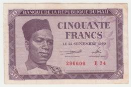 Mali 50 FRANCS 1960 VF+ Pick 1 - Mali