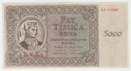 Croatia 5000 Kuna1943 UNC NEUF Pick 14 - Croatie