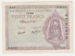 Tunisia 20 Francs 1945 VF++ Pick 18 - Tunisia