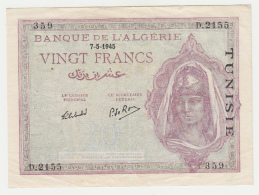 Tunisia 20 Francs 1945 VF++ Pick 18 - Tunisie