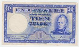 Netherlands 10 Gulden 1945 VF+ Pick 75a  75 A - 10 Gulden
