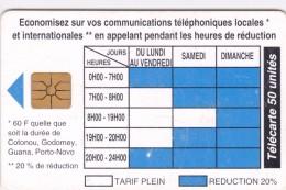 Benin, BEN-20, 50 Unités, Telephone Tariffs 1 , 2 Scans  (09/96, 40.000). - Benin