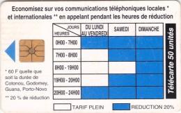 Benin, BEN-19, 50 Unités, Telephone Tariffs 1 , 2 Scans  (11/94, 100.000, With Moreno Logo).