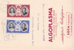 85380 O - 2 TP, Tarif  5 F, OMEC MONTE CARLO  4 1956 Avec Flamme S/CP ALGOPLASMA TB - Storia Postale