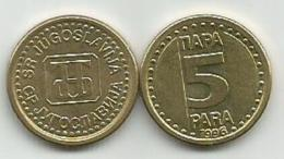 Yugoslavia 5 Para 1996. AUNC KM#164.2 - Yougoslavie
